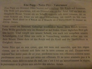 The Lord's Prayer in Luxembourgish, French and German (click to embiggen)