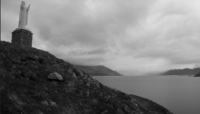 Mary standing over Inverie bay